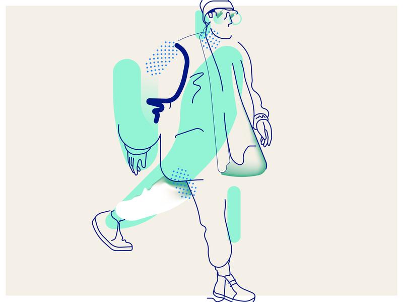 Walk adobe vector digital illustrator character 2d illustration