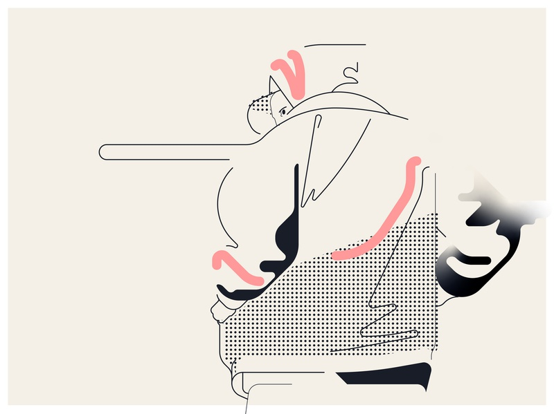 Hide urban character 2d adobe digital illustration vector