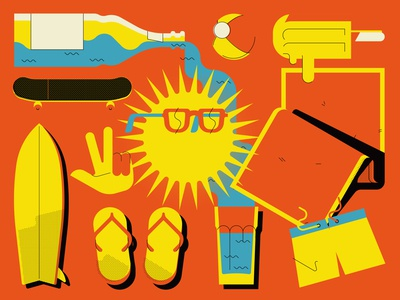 Summertime peaceful sun digital vector illustration water summertime sunshine