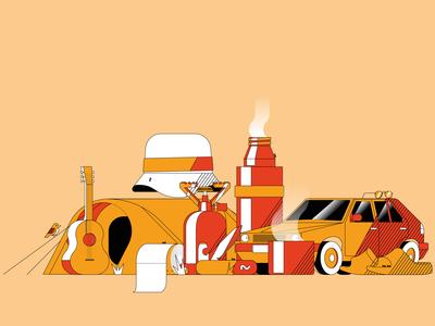 Camping illustrator digital illustration camping summer