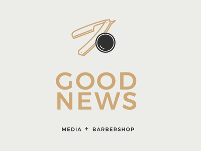 Good News simple clean typography minimalist minimalism minimal barbershop logo branding graphic design illustrator design