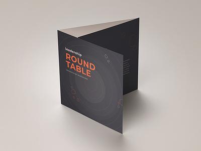 Leadership Roundtable invitation conference agenda brochure mockup graphic design print design trifold brochure illustrator