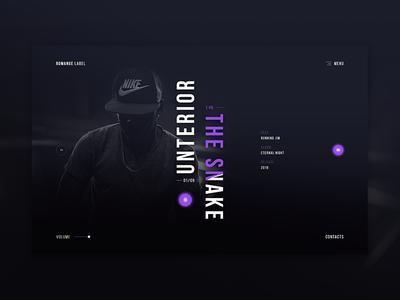 Romange Label black artist dark player music label web ux ui 2018