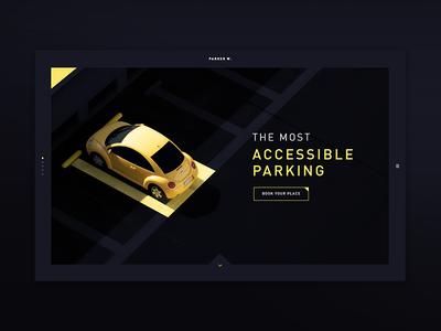 Parker W. desktop yellow black dark parking parker web ux ui 2018