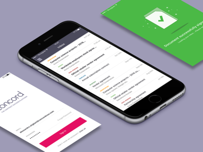 Concord Mobile App e-sign contract management contract e-signature ui ux mobile app concord