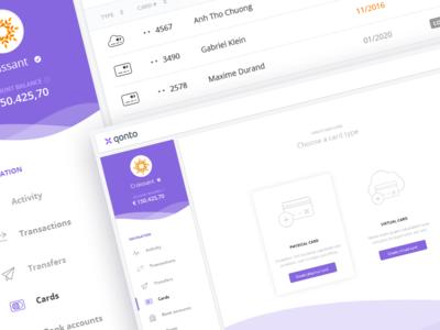 Qonto card management V0 ux ui user experience design online banking debit card banking card dashboard fintech finance financial bank