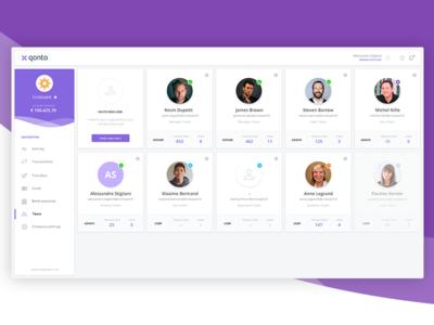 Qonto Team dashboard V0 users team ux ui user experience design online banking banking dashboard fintech finance financial bank