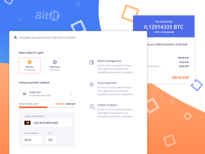 Bitit Purchase & Checkout funnel user experience ui ux ethereum purchase checkout cryptocurrency crypto bitcoin