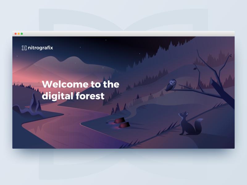 Nitrografix 2018 redesign - Header illustration river forest owl fox illustration agency portfolio landing  page nitrografix