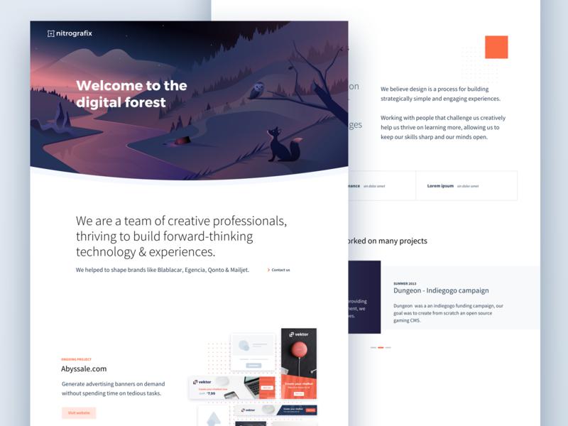 Nitrografix website live branding minimal clean website ui portfolio illustration landing page nitrografix