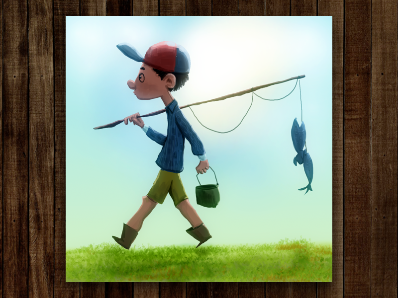 Gone Fishing comic art cartoon art cartoon wacom photoshop illustration digital artwork character design artwork