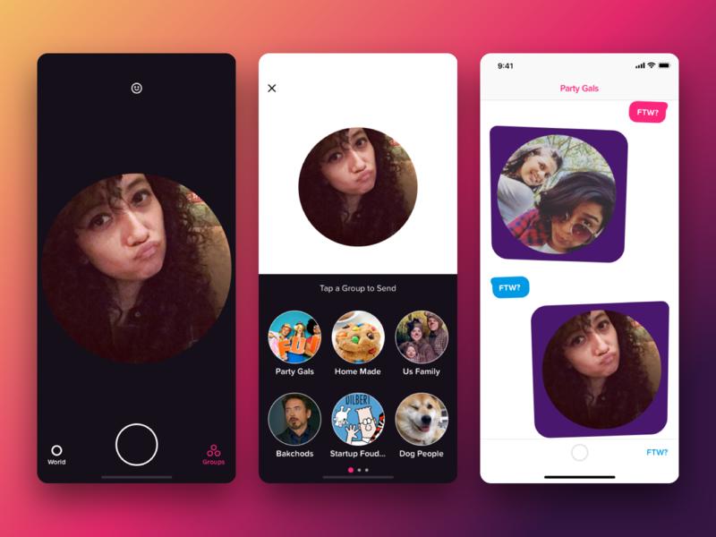 FTW — Group Chat App ios app ux design uidesign group chat chat chat app selfie camera snap snapchat
