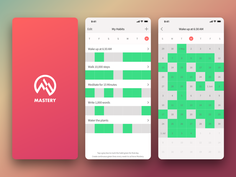 Mastery App mobile app concept ui ux app ui design ui design ux design ios application ios app design ios habit tracker