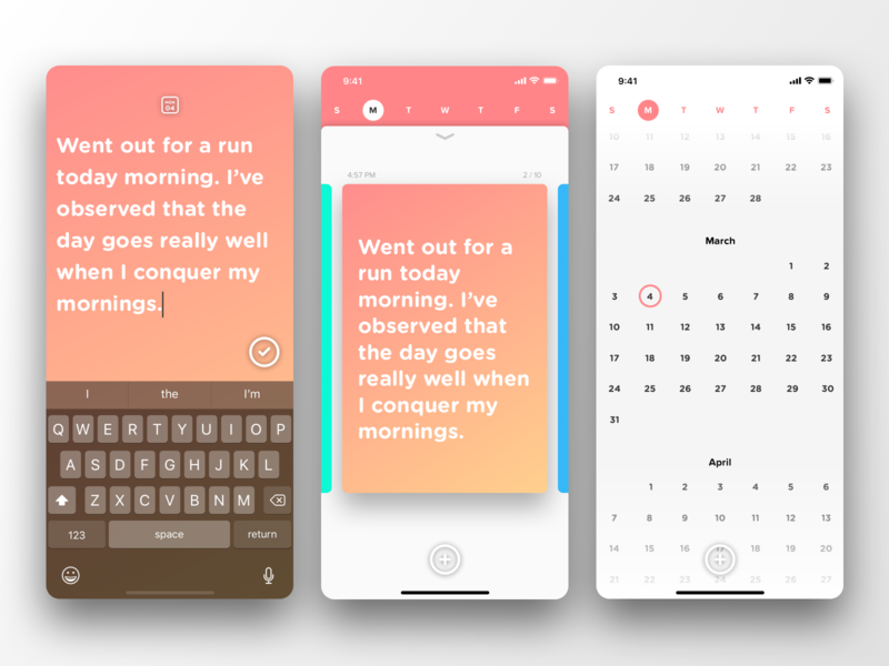 Journaling App Concept typography ui design colourful visual snapchat calendar cards juicy ui gradients joural writing app note taking app notes app diary app iphone app ios app ux design ui ux visual design uidesign