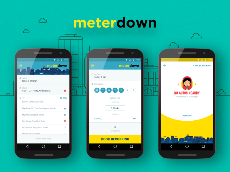 Meterdown App mobile design android app design auto rickshaws taxi app auto app cab indian app ui  ux design app concept screens uber ola meterdown android app visual design ui  ux ui uidesign design ux design