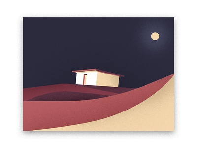 Night in Sahara morocco flat house graphic moon noise vector minimalist grain desert night illustration