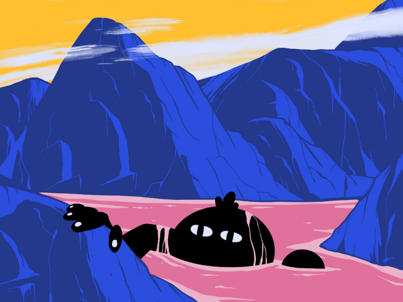 Out of water procreate design colors landscape weird lake water illustration character sky moutains