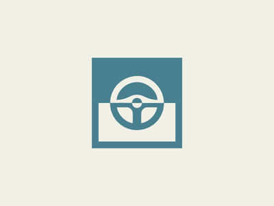 Driverless Car Logo steering wheel driverless car car illustrator logo daily logo challenge
