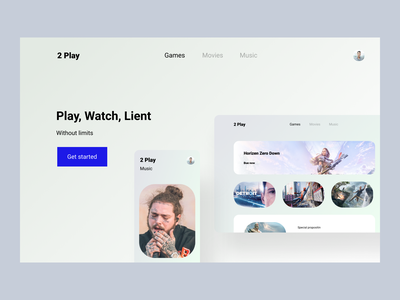 2 play landing page app ux branding ui design games web website web design