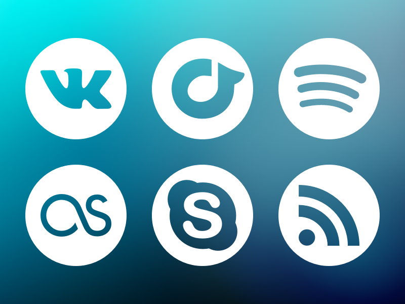 New Social Icons (September 2013) icons social vector sketch vk rdio spotify skype rss icon set last.fm