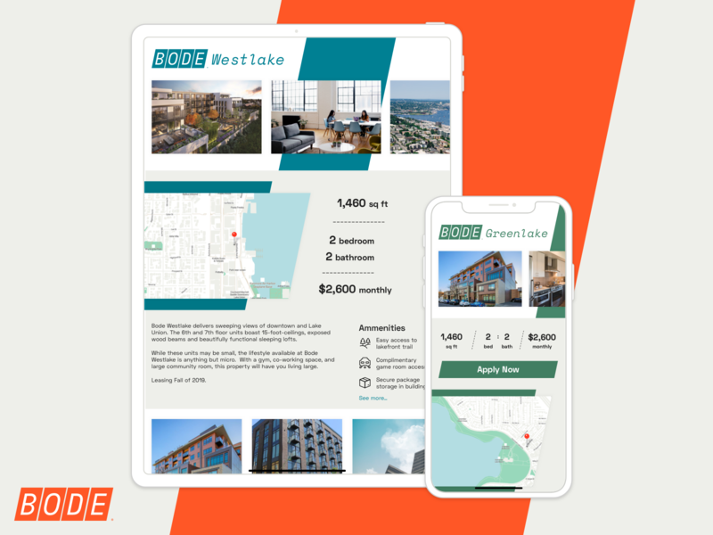Bode | Property Listings Concept asmallstudio seattle software design product design ui ux user interface user experience web design listings property real estate