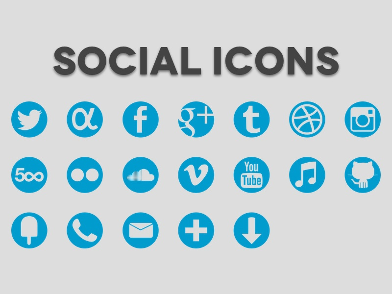 Social Icons iconography icons twitter facebook tumblr vimeo youtube itunes github dribbble instagram adn app.net 500px flickr phone fancy cross mail downloads soundcloud google social icon set icon vector