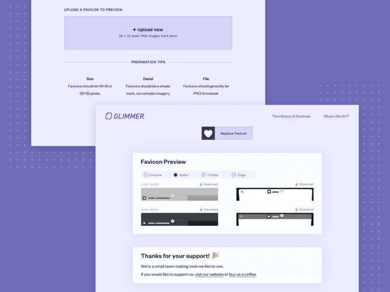 Glimmer | Preview Favicon Designs product design website design tool productivity favicon