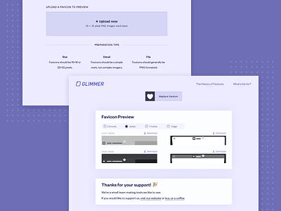 Glimmer   Preview Favicon Designs product design website design tool productivity favicon