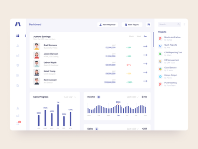 Sales manager dashboard main page sales ux branding ui logo design