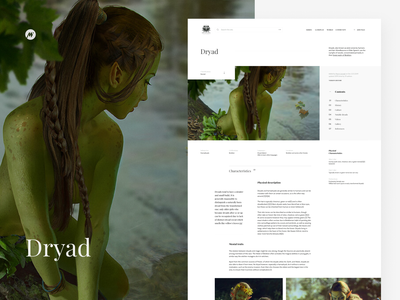 Dryad - witcher's wiki site minimal web ui interface design interface visual artwork webdesign wiki sapkowski fantasy dryad witcher design