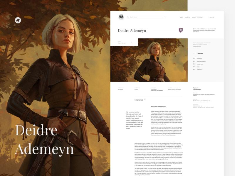 The Witcher's Wiki web design gwent fantasy wikipedia wiki dryad witcher minimal website webdesign web ui visualdesign interface design interface design