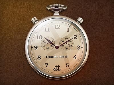 Thank you, Petri! debute thanks stopwatch time icon