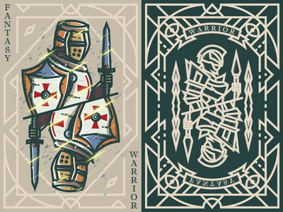 Fantasy warrior《Crusader Sword shield》 弟仔 game card middle ages fantasy warrior illustration
