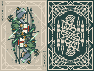 Fantasy warrior《Crusader Longbowmen》 game card 弟仔 middle ages fantasy warrior illustration