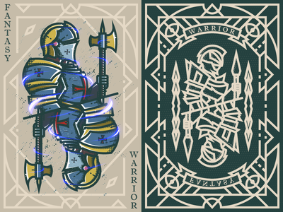 Fantasy warrior《Crusader Swordman》 弟仔 game card middle ages fantasy warrior illustration