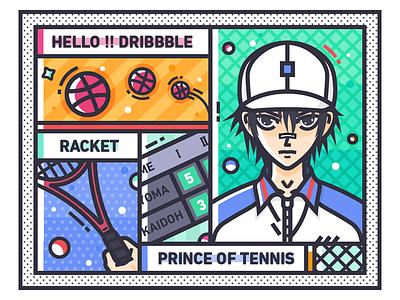 Hello Dribbble!!! 动画 illustration racket prince of tennis hello dribbble
