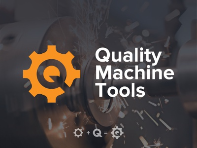 Quality Machine Tools gear tools machine q design branding logo