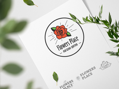 Flowers Place Logo flower shop rose flower logo flower branding logo