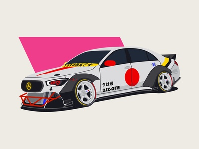 Mercedes W223 driftt mercedes illest jdm drift stance car illustration