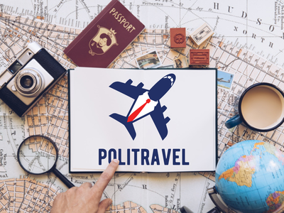 Logo Politravel plane fly political travel logo