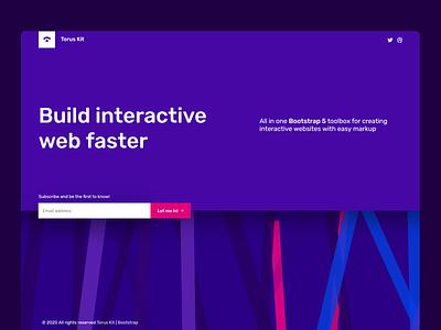 Landing page interactive form svg minimal design flat html ui torus kit css bootstrap landing landing page