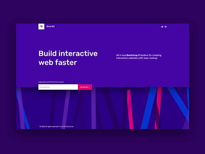 Landing page reveal animation parallax 3d tilt webdesign web landing page ladning design minimal flat html ui torus kit interaction css animation bootstrap