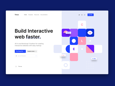 Main page redesign landing vector design minimal flat html ui torus kit css bootstrap