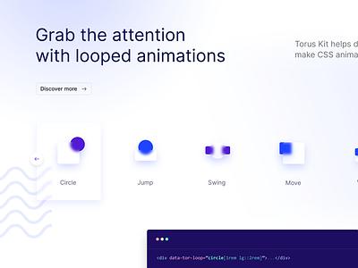 Loops section design refresh vector design landing glassmorphism glass minimal html interaction ui css torus kit