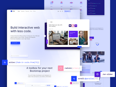 Homepage effects bootstrap gradients flat design html interaction ui torus kit