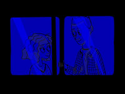 Le rendez-vous night love illustration subway