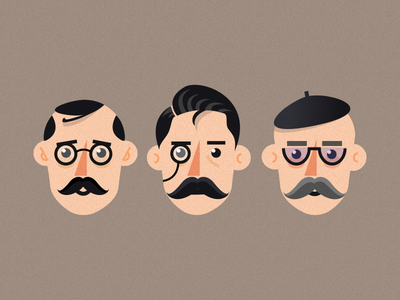 French man monocle glasses mustache french man illustration