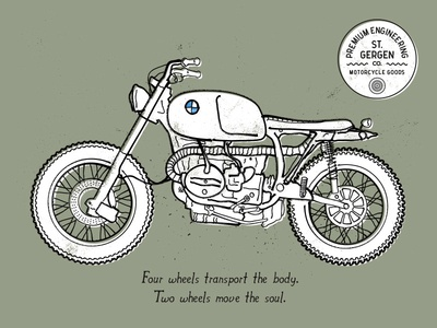 BMW R100 Scrambler illustration motorcycle bmw