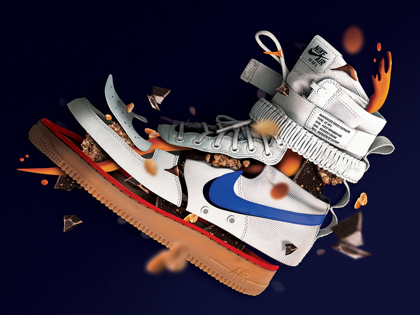 Sneakers' snickers chocolate nikesf nikeair nike shoes explosion explode photoshop sneakers