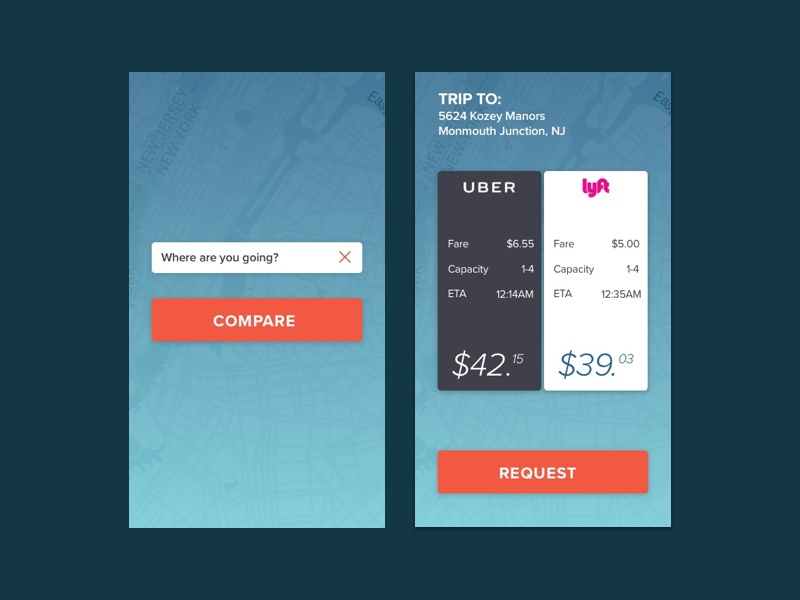 Ride Share Compare protoype invision sketch ios ui ride share lyft uber